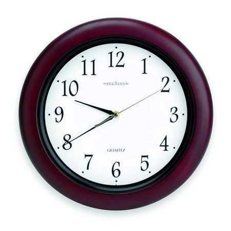 "14"" Analog Quartz Wall Clock,  Burgundy"