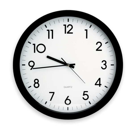 "15"" Analog Quartz Wall Clock,  Black"