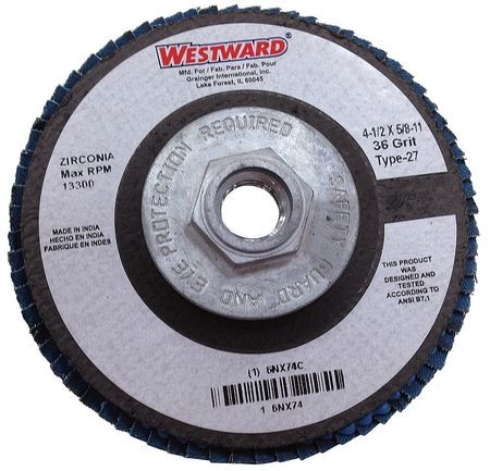 Arbor  Flap Disc, 4-1/2, 36, Extra Coarse
