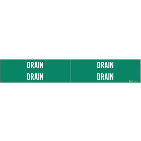 Pipe Marker, Drain, Green, 3/4 to 2-3/8 In