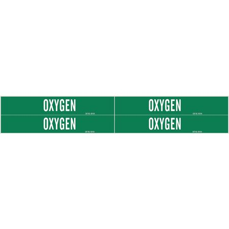 Pipe Marker, Oxygen, Green, 3/4 to 2-3/8 In