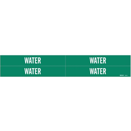 Pipe Marker, Water, Green, 3/4 to 2-3/8 In