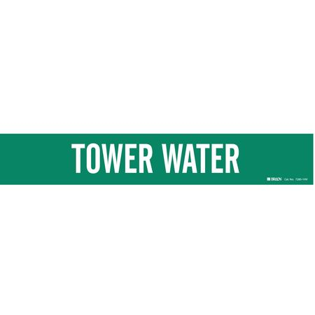 Pipe Marker, Tower Water, Gn, 8 In or Lrger