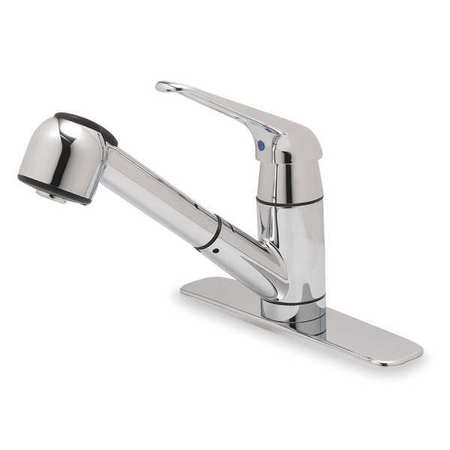Rigid Kitchen Faucet with Pullout Sprayer,  Chrome,  1 or 3 Holes,  Lever Handle