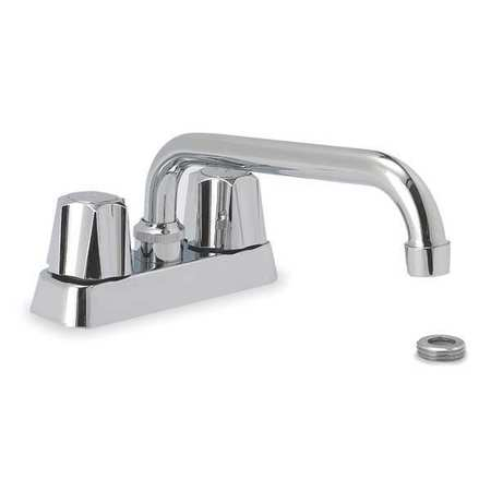 Utility Sink Faucet Rigid/Swing Spout,  Chrome 2 Holes,  Knob Handle