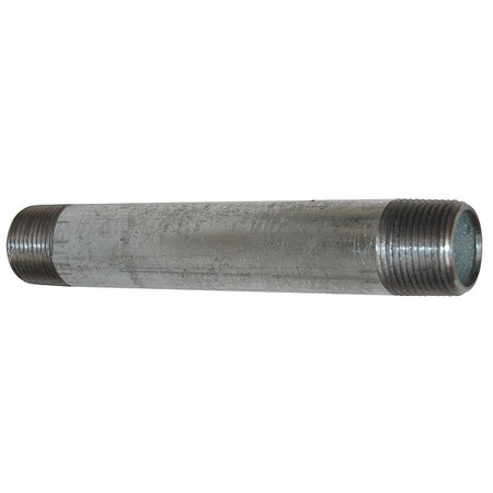 "3/8"" x 8"" MNPT Threaded Galvanized Steel Pipe Nipple"