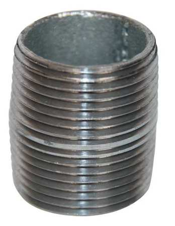 "2"" MNPT Threaded Galvanized Steel Close Pipe Nipple"