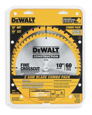 Circular Saw Blade, Carbide, 10 In, PK2