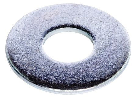 "3/8"" x 1"" OD Zinc Plated Finish Low Carbon Steel Flat Washers,  100 pk."