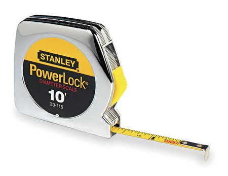 Tape Measure, 1/4 In x 10 ft, Chrome, In/Ft