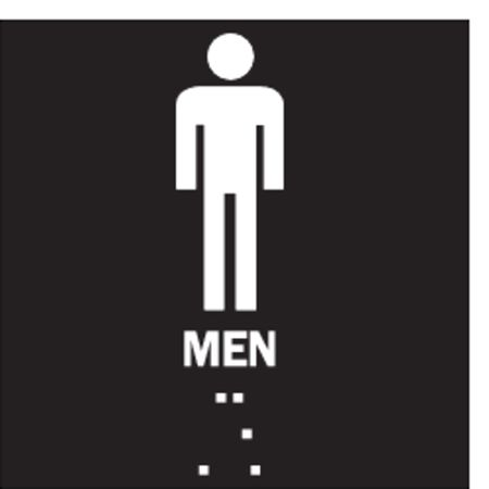 Restroom Sign, 8 x 8In, WHT/BK, Men, ENG
