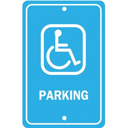 Parking Sign, 18 x 12In, WHT/BL, PRKG, G-40