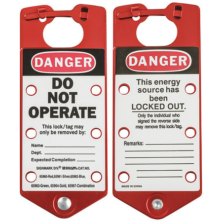 Labeled Lockout Hasp, Snap-On, 6 Lock, PK5