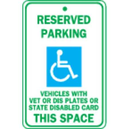 Handicap Parking Sign, 18 x 12In, MUTCD
