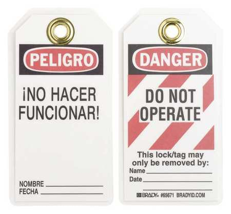 Danger Bilingual Tag, 5-1/2 x 3 In, PK25