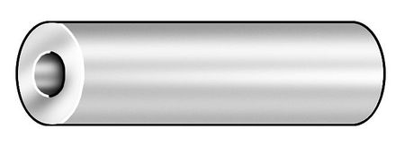 Round Spacer, Chrome, 1/4 In, 1 L, Pk5