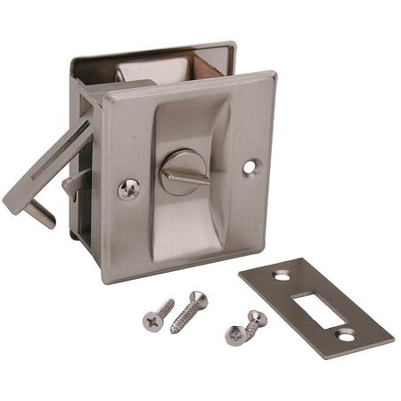 Pocket Door Privacy Lock-Satin Nickel