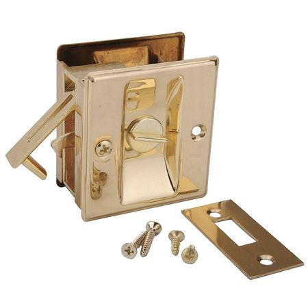 Pocket Door Privacy Lock-Bright Brass