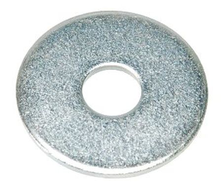 "3/8"" x 1-1/2"" OD Zinc Plated Finish Low Carbon Steel Fender Washers,  100 pk."