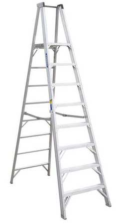 Platform Stepladder, 8 ft, Aluminum, 375 lb