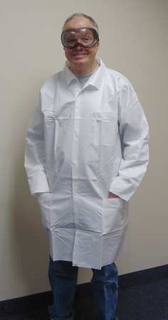 Disp. Lab Coat, XL, Microporous, White, PK50