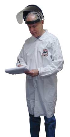 Disp. Lab Coat, M, Microporous, White, PK50