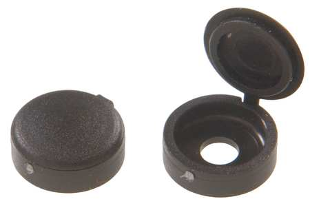 Screw Cover, Hinged, Black, #4/#6, PK25