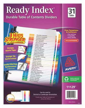 Index Divider, Numbered, 31 Tabs, Colored