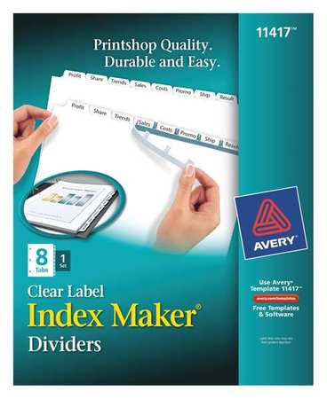 Avery Avery Index Maker Clear Label Dividers 11417 8 Tab Set