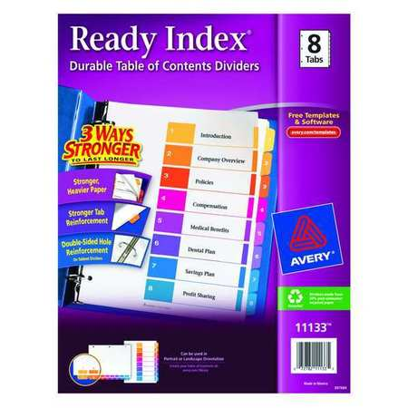 Index Divider, Numbered, 8 Tabs, Multicolor