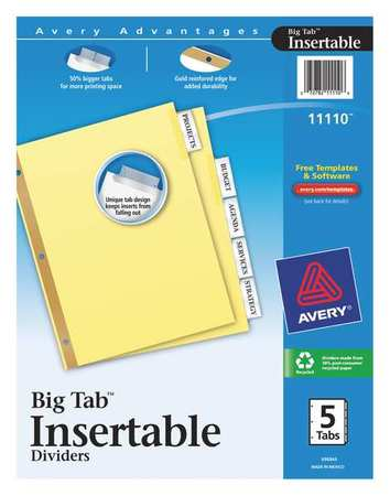 Index Divider, Insertable, 5 Tabs, Clear
