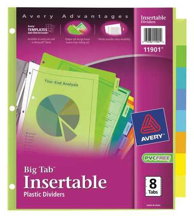 Index Divider, Insertable, 8 Tabs, Colored