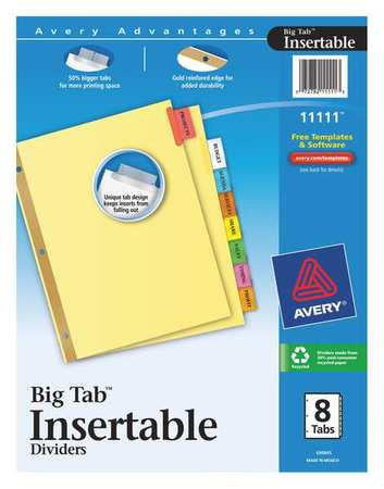 avery big tab insertable dividers 11111 buff paper 8 multicolor tabs