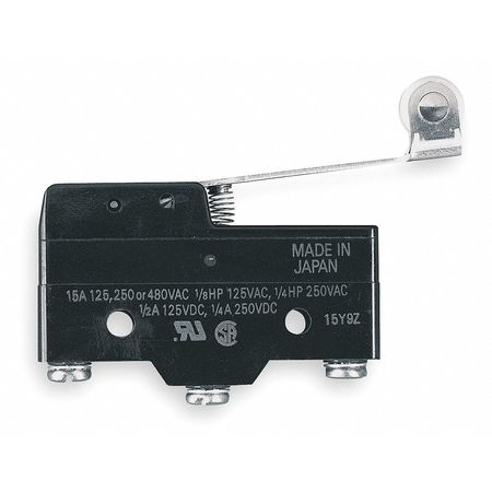 Snap Switch, 15A, SPDT, Hinge Roller Lever