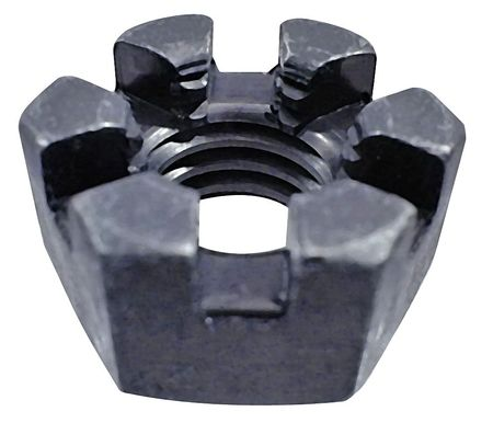"1-1/2""-12 Grade 5 Plain Finish Steel Round Slotted Castle Nut,  5 pk."