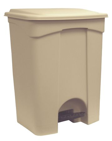 18 gal. Beige Plastic Rectangular Trash Can