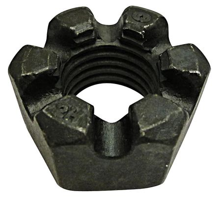"7/8""-9 Grade 2H Plain Finish Steel Round Slotted Castle Nut,  10 pk."