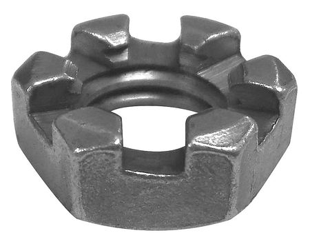 "1-1/4""-7 Grade 5 Plain Finish Steel Round Slotted Castle Nut,  5 pk."
