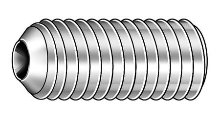 Socket Set Screw, Cup, 0-80x1/8, PK50