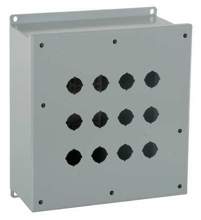 Pushbutton Enclosure, 22mm, 12 Holes, Steel