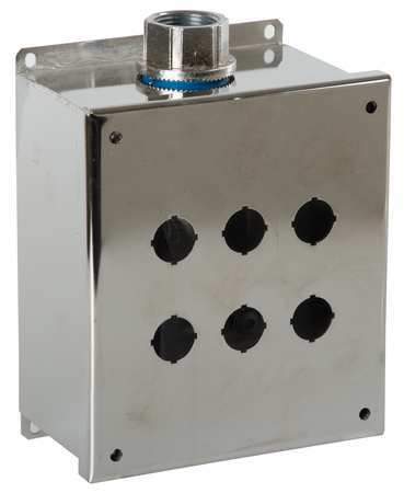 Pushbutton Enclosure, 22mm, 6 Holes, 304 SS