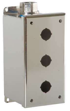 Pushbutton Enclosure, 22mm, 3 Holes, 304 SS