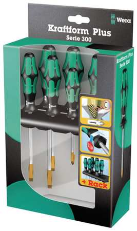 Screwdriver Set, Slotted/Phillips, 6 Pc