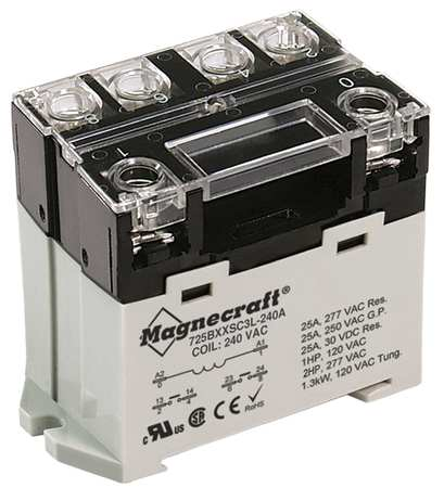 Enclosed Power Relay, 6Pin, 240VAC, DPST-NO