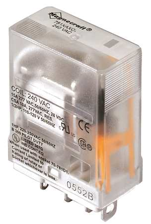 Plug In Relay, 5 Pins, Square, 240VAC