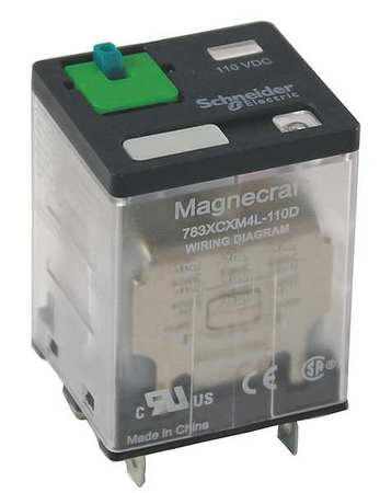 Plug In Relay, 11 Pins, Square, 120VAC