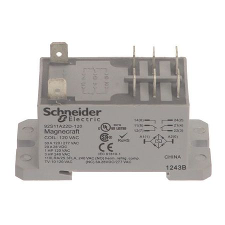 Schneider Electric Enclosed Power Relay 8 Pin 120VAC DPDT