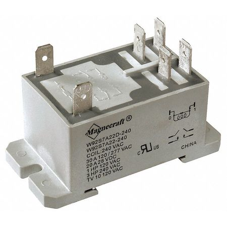 Enclosed Power Relay, 6Pin, 120VAC, DPST-NO