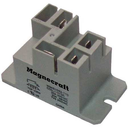 Enclosed Power Relay, 4 Pin, 24VAC, SPST-NO