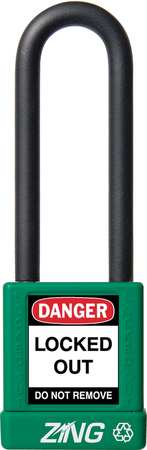 "Lockout Padlock, KA, Green, 1-3/4""H"